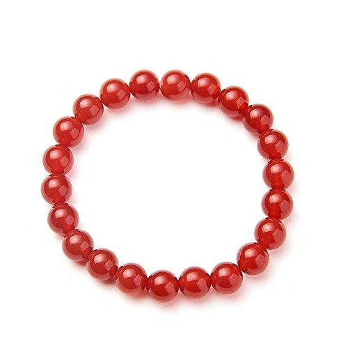 SUNNYCLUE natur echtem Rot Achat Edelsteine Armband Stretch Perlen rund 8 mm über 7