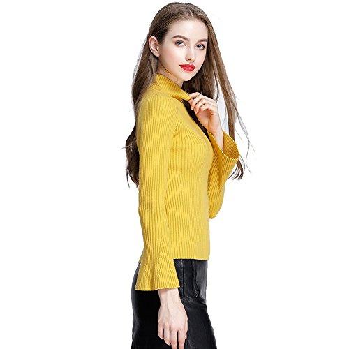 Balai Maglia manica lunga donna maglia a maglia Maglia cappotto Maglione Pullover Cardigan Giallo