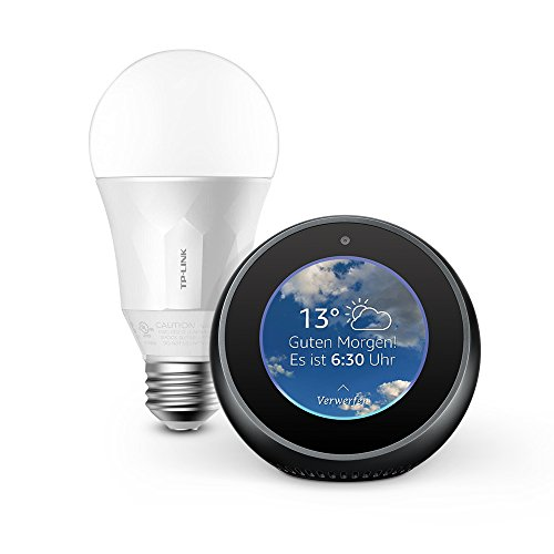 Wir stellen vor: Amazon Echo Spot - Schwarz inkl. TP-Link Smart LED E27 Glühbirne