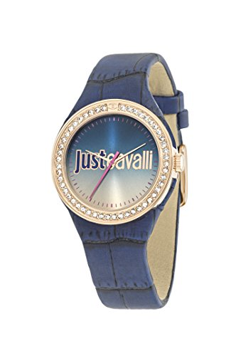 Just Cavalli Just Shade Women's Quartz Watch with Rose Gold Dial Analogue Display and Blue Leather Strap R7251201503