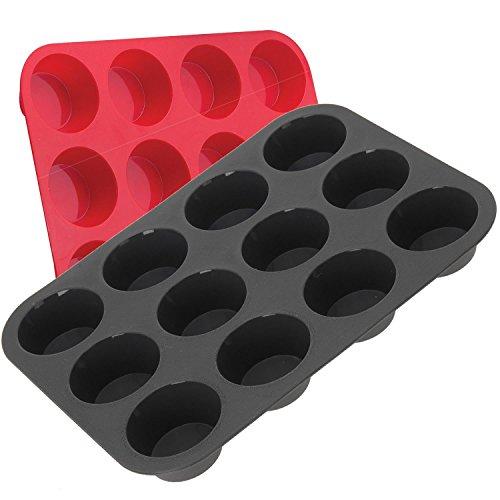 LS Design 12´er Silikon Muffin Backform Kuchenform Muffinform Muffinförmchen Muffinbackform 33x25x3cm LS-LebenStil (Ohne Brownie Fett Schokolade)