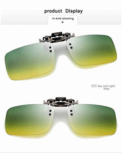 Yiph-Sunglass Sonnenbrillen Mode Neueste Männer Polarisierte Brillen Clip Auf Myopie Gläser Nachtsichtbrille Tag Und Nacht Fahren TAC Sonnenbrille UV400 (Color : Day and Night, Size : Big)