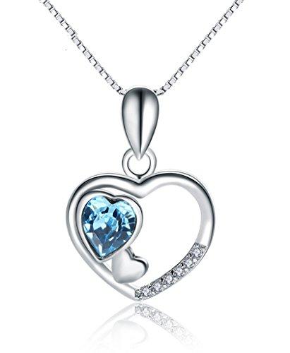 Signore Triple Collana Cuore di lunghezza 45 centimetri con collana collezione Swarovski pendente di cristallo Amore - Blu