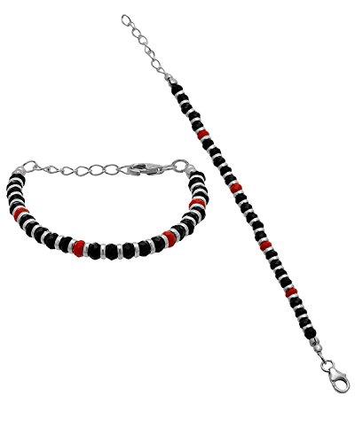 gemshop 92.5 Sterling Silver Nazriya Beaded Bracelet (Black) - Set Of 2