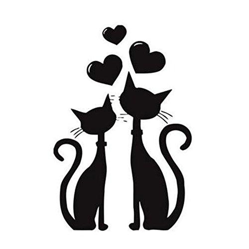 Dosige Dos Gatos Negro Pet Dibujos Animados Pegatinas de Ventana Pared Extraíble Pegatinas Vinilo Decal Murales Para Cocina Sala de estar Dormitorio Restaurante
