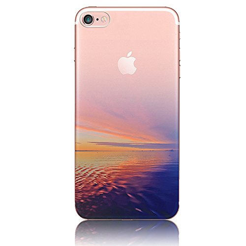 Custodia iPhone 7 ,Bonice Cover iPhone 7 Silicone Trasparente TPU Flessibile Ultra Sottile Paesaggio Scenario Bumper Case per Apple iPhone 7 + 1x Protezione Dello Schermo Screen Protector - Pattern 21 model 11