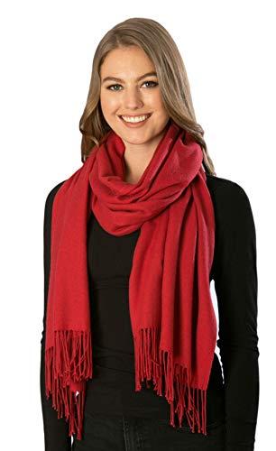 Jarseen sciarpa donna uomo inverno pashmina scialle stole lana morbide grande caldo regalo per natale (vino, 180 * 64)