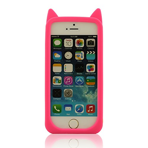 iPhone 5 Rose Coque, iPhone 5S Coque, iPhone 5C Coque, Housse de Protection pour iPhone 5 5S 5C 5G, Silicone Souple Coque, Polychrome Chat Apparence Rouge