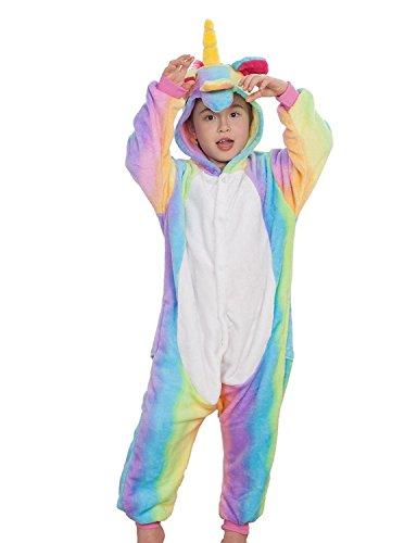 Kinder Einhorn Kostüme Flanell Einhorn Pyjamas Tier Cartoon Cosplay Schlafanzug Kostüme (115: 125-134cm, Regenbogen) (Halloween-kostüme Für Tweens Mädchen)