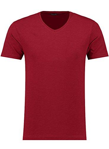 Herren T-Shirt - V-Ausschnitt - Slim-Fit/Figurbetont - Oversize - Meliert - Modernes Kurzarm Vintage Shirt Dunkelrot XL (Rot Fit Slim T-shirt)