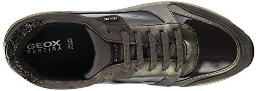 Geox Damen D AIRELL C Sneaker Braun (DK COFFEE/Taupe)