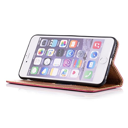ETSUE Coque pour iPhone 6 Plus,iPhone 6S Plus Cuir Portefeuille,iPhone 6 Plus,iPhone 6S Plus Housse en Pu Flip Folio Stand Coque pour iPhone 6 Plus,iPhone 6S Plus,Fille Femme Luxueux Chatoiement Luxue Rouge