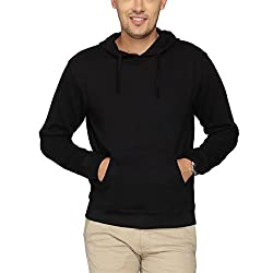 Campus Sutra Black Hooded Sweatshirt Plain
