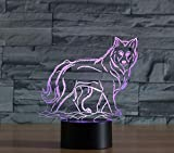 Wolf 2 3D Night Light Colorful Touch Acrylic LED Vision Desk Lamp Customized Logo...