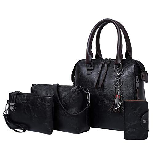 Cooljun Ladies Travel Weekender Schultertasche 4Pcs Women Pattern Solid Handtasche + Umhängetasche + Umhängetasche + Kartenpaket -