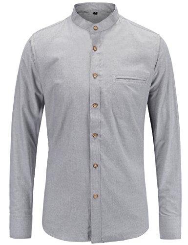 JEETOO Herren Langarm Oxford Hemd Modell Slim Fit Stehkragen Bügelleicht (X-Large, Grau) (Casual-oxford-hemden)