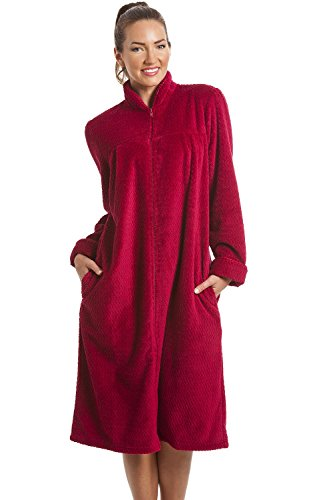 Camille - vestaglia homewear donna - morbido pile con cerniera frontale - rosso rubino 46/48