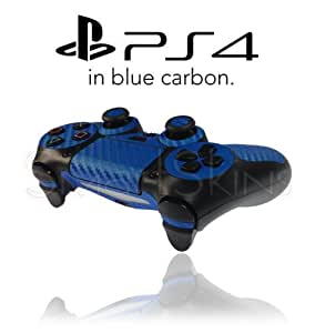 Playstation 4 PS4 Controller Skin in Blue Carbon Wrap Cover Decal