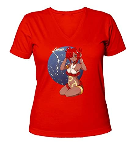 Anime zodiac cancer horoscope symbol art Women's V-Neck T-Shirt XX-Large
