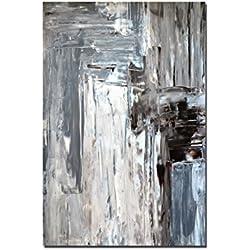 Paul Sinus Art 120x80cm - WANDBILD Kunst Abstrakt Malerei Braun/Grau - Leinwandbild auf Keilrahmen Modern Stilvoll - Bilder und Dekoration