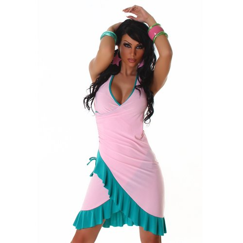 Jela London Unità Dress abito da cocktail da ballo con scollo a V bicolore colori correnti delle donne Rosa-Verde 36,38,40,42