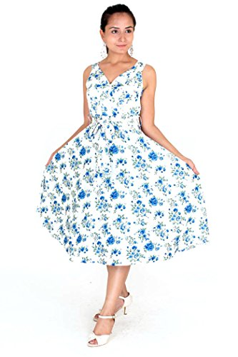 cktail Kleid, Geblümt mehrfarbig Blue-white Gr. 36, Blue-white (Damen 60s Fancy Dress)