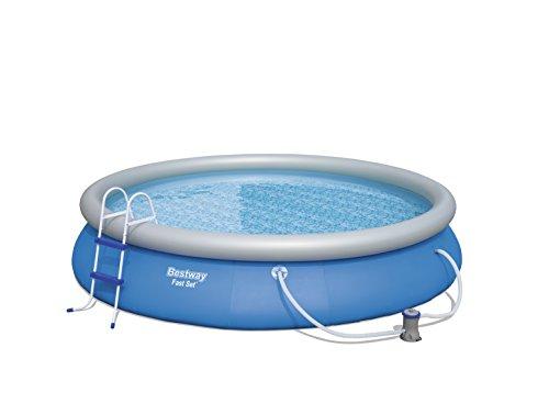 Fast Set Pool Komplettset rund, mit Kartuschenfilterpumpe, Leiter, Boden- & Abdeckplane, 457x84 cm, blau