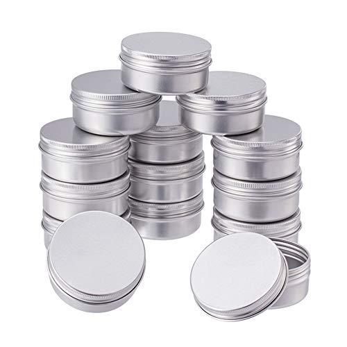 BENECREAT 20 Pack Lata de 50ml latas de Aluminio Redondos de Rosca Contenedores de la Tapa del Tornillo - Ideal para almacenar Especias, Dulces, te o Regalos (Platino)
