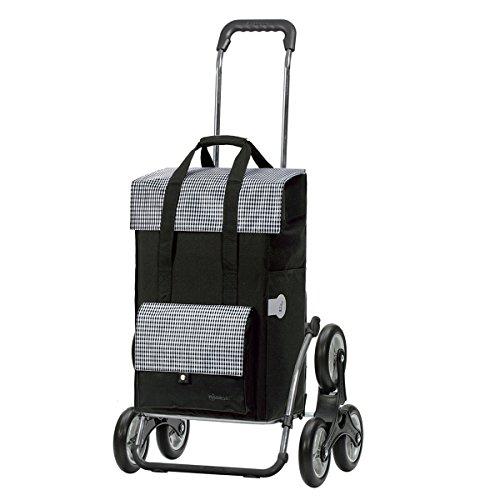 Andersen Einkaufstrolley Royal als Treppensteiger und Einkaufstasche Milla Schwarz 49 Liter Einkaufswagen Stahlgestell klappbar