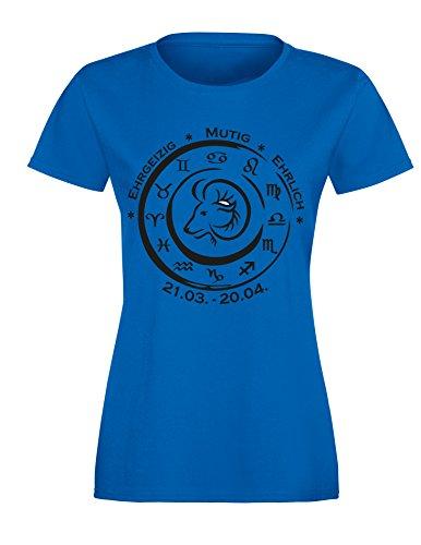 Sternzeichen Widder - Astrologie - Damen Rundhals T-Shirt Royal/Schwarz