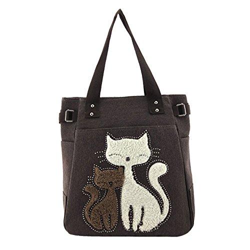 Caffè Canvas Vitage Cute Cat Design Multifunzione Borsa A Tracolla Per Donna