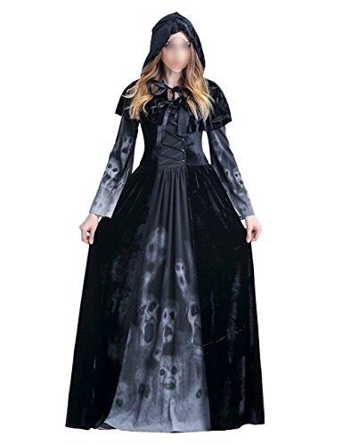 THEE Schwarz Hexenkostüm Lange Robe Vampir Zombie Hexe Kostüm Halloween Cosplay Karneval Fasching Fastzeit Damen