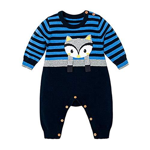 QIQI Kinderknit Sweater, Cartoon Fox Knit Jumpsuit, Warme Jacke, Herbst-und WinterBoys und Girls Kostüme,Blue,70CM