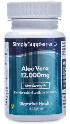 Aloe-vera-gel Tabletten (Aloe Vera 12.000mg - 180 Tabletten - Versorgung für bis zu 6 Monaten - Für Kunden, die an Verdauungsbeschwerden oder Unwohlsein leiden - Simply Supplements)