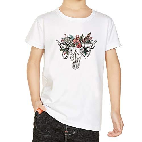 Kurzarm 3D Horn Creative Print T-Shirt Top Sweatshirt Kinder Baby Mädchen Jungen 3D Cartoon Deer Sheep Print T-Shirt Tops Freizeitkleidung ()