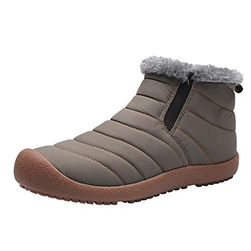 Herren Schneestiefel Kolylong® Männer Winter Warm Gefüttert Baumwollschuhe rutschfest Schlupf-Stiefel Ankle Boots Freizeitstiefel Winterstiefel Winterschuhe Skistiefel Reitstiefel