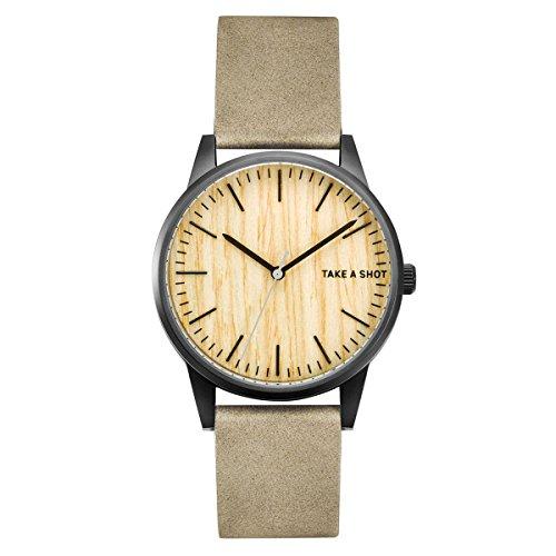 Take a Shot | schwarze Uhr | Tom | mit Ziffernblatt aus Ahornholz