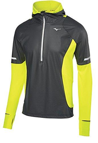 Windtop (Mizuno Running Herren Statische Atem Thermo Half Zip WindTop Jacke, Herren, 421575, schwarz/gelb, M)