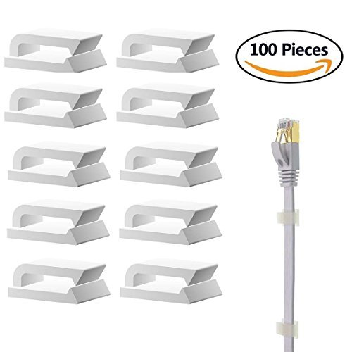 Selbstklebend Kabelhalter/Kabelclips, 100 Stück Kabelbinder für Ethernet Flachkabek geeignet