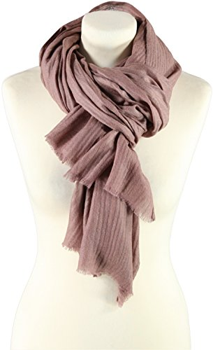 Passigatti Damen Woll-Cashmere-Seiden Schal Mauve One Size (Mauve Bekleidung)