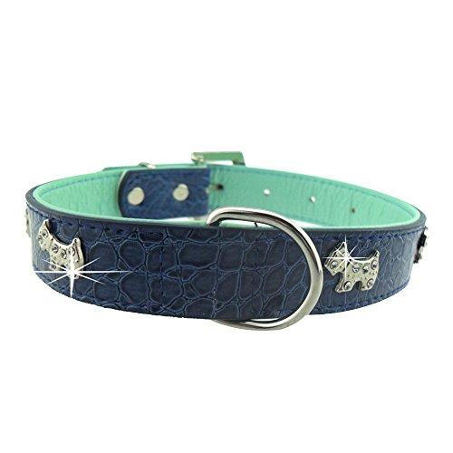Eizur Pet cane Gatto regolabile collare Coccodrillo Grano PU Cuoio Fibbia Collana Cucciolo Collo Sicurezza Studded Strass Cane Taglia L