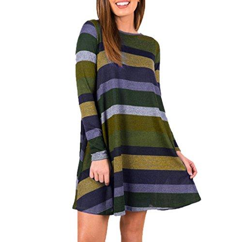 VENMO Damenröcke Lange Ärmel Gestreiftes Kleid Bedrucktes Casual Swing Tunika Kleid Lose dress Röcke Damen Minikleid Pullover Pulli Strickkleider Knielang Langarm Kleider mit Taschen (Green, S) (Kapuzen-sweatshirt Bunny)