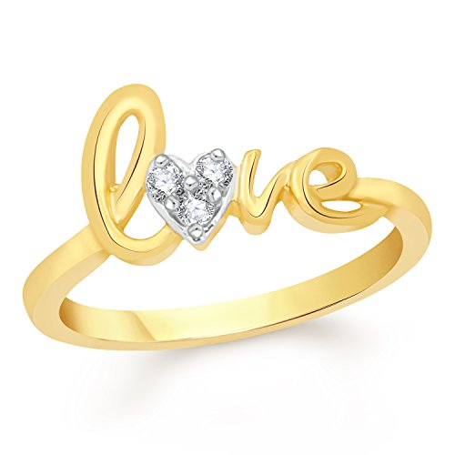 Vk Jewels Love Gold Brass Alloy Cz American Diamond Ring for Women Vkfr2256G17