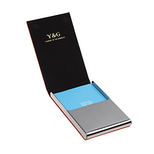 YDC05 Bester Visitenkarte-Halter-Leder-Karten-Kasten Ausgezeichneter Designer durch Y&G YDC06A12-Orange