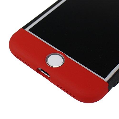 Handyhülle iPhone 7 Hardcase, iPhone 7 3 in 1 Hülle, iPhone 7 Fullbody Case, Moon mood® 3 in 1 Anti-Fingerprint Kratzfeste Kunststoff Harte Rückseite Case Bumper Schutzhülle für Apple iPhone 7 4.7 Zol T Rot und Schwarz