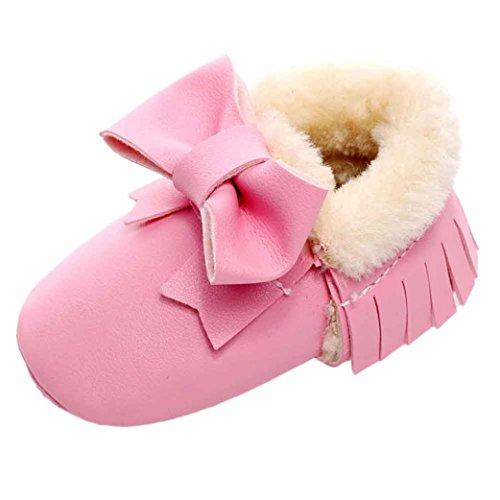 Saingace Krabbelschuhe boots 1 ~ 6 Alter Baby-Bowknot-weiche Sole-Schnee-Aufladungen weiche Krippe-Baumwollschuhe-Kleinkind-Aufladungen Rosa