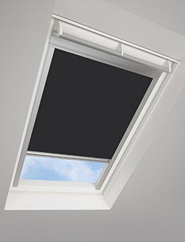 DARKONA ® Dachfensterrollo für VELUX-Dachfenster - Verdunkelungsrollo - Zahlreiche Farben / Zahlreiche Größen (CK02, Schwarz) - Silberner Aluminiumrahmen