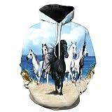 FINDMAX Plus Größe Sweatshirt 3D Print Gelb Pferd Tier Muster Unisex Casual Stilvolle Hoodies
