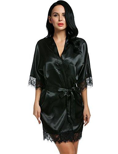 CRAVOG Femme Sexy Robe de Chambre Kimono Dentelle Chemise de Nuit Peignoir Satin Col V Lingerie avec Ceinture Noir