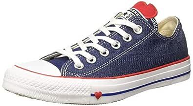 Converse Women's Cotton Indigo/Enamel Red/White Sneakers-5 UK/India (37.5 EU) (8907788162635)